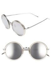 Linda Farrow Women's 51Mm Round Sunglasses Truffle White Gold Platinum Truffle White Gold Platinum