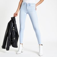 River Island Light Blue Molly Frayed Jeggings