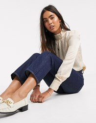 Y.A.S High Neck Blouse With Volume Sleeve In Cream