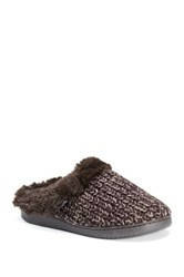 Muk Luks Patterned Knit Faux Fur Lined Clog Brown