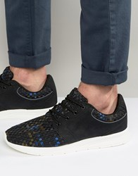 Pull And Bear Pullandbear Woven Trainers In Black Blue Black