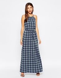 Club L Low Back Maxi Dress With Flared Skirt Blue