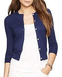 Lauren Ralph Lauren Cropped Knitted Cardigan Authentic Navy