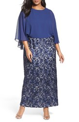 Alex Evenings Plus Size Women's Chiffon And Embroidered Lace Long Blouson Dress