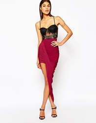 Club L Slinky Side Ruched Pencil Skirt Oxblood
