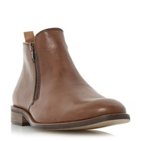 Dune Maccabee Side Zip Leather Ankle Boots Tan