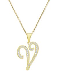 Macy's Diamond Accent Script Initial Pendant Necklace In 18K Gold Plated Sterling Silver