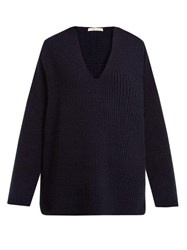 The Row Angela V Neck Wool Blend Sweater Navy