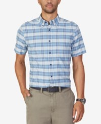 Nautica Men's Plaid Short Sleeve Shirt True Blue