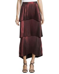 A.L.C. Harley Tiered Pleated Metallic Skirt