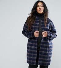 Junarose Plus Coat In Check With Belt Multi