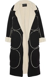 Norma Kamali Faux Shearling And Jersey Coat Black