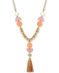 Lucky Brand Leather Statement Necklace Gold