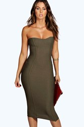 Boohoo Bandeau Bandage Midi Bodycon Dress Khaki