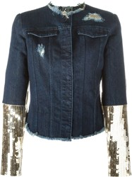 Aviu Aviu Sequin Sleeve Denim Jacket Blue