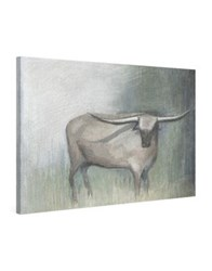 Marmont Hill Longhorn Grey Painting Print On Wrapped Canvas