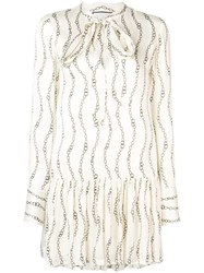Alexis Patterned Tiered Dress Neutrals