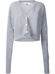 Le Ciel Bleu Mesh Knit Cropped Cardigan Grey