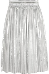 Maje Jaures Lam And Eacute And Mesh Midi Skirt Silver