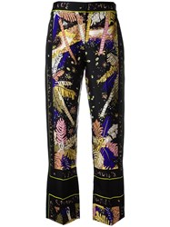 Emilio Pucci Feather Motif Cropped Trousers Black