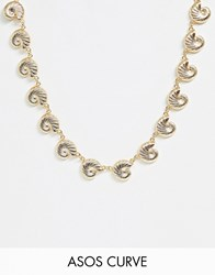 Asos Design Curve Necklace With Metal Shell Pendants In Gold Tone