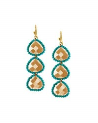 Panacea Linear Crystal Beaded Triple Drop Earrings Multi