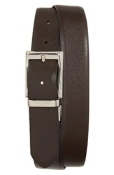 Canali Men's Reversible Leather Belt Chocolate Black