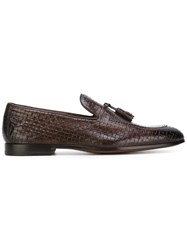 Doucal's Woven Loafers Men Calf Leather Leather 41.5 Brown