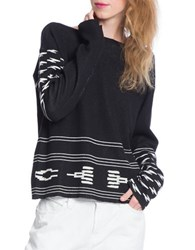 Plenty By Tracy Reese Ikat Pullover Sweater Ivory Black