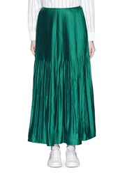 Mo And Co. Sunray Pleat Satin A Line Skirt Green Blue