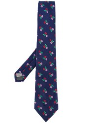 Canali Floral Embroidered Tie Men Silk One Size Blue