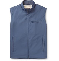 Loro Piana Slim Fit Suede Trimmed Quilted Storm System Shell Gilet Navy