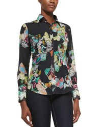 Georg Roth Los Angeles Butterfly Print Cotton Blouse Midnight Black
