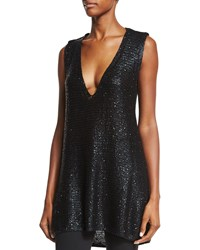 Donna Karan V Neck Embellished Tunic Tank Black