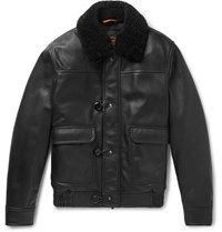 Tod's Shearling Trimmed Leather Aviator Jacket Black
