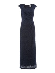 Tahari By Arthur S. Levine Asl Sequin Lace Cap Sleeve Gown Navy