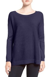 Trouve Women's Corrugated Stitch Pullover Navy Evening