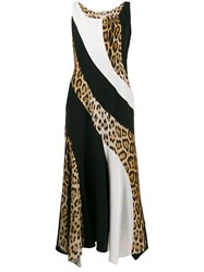 Roberto Cavalli Leopard Panel Dress Black