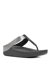 Fitflop Fino Platform Thong Sandals Pewter