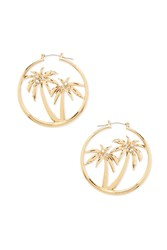 Forever 21 Palm Tree Hoop Earrings Gold Clear