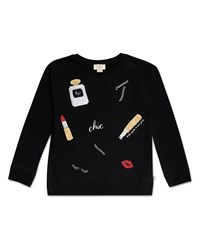 Kate Spade Glamour Collage Sweatshirt Size 7 14 Black
