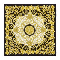 Versace Black And Gold Silk Barroco Scarf