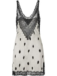 Burberry Lace Panel Animal Print Slip Dress Neutrals