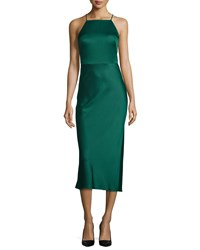 Jason Wu Sleeveless Halter Neck Charmeuse Cocktail Dress Jade Green Women's