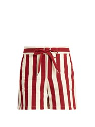 Red Valentino Striped Cotton Blend Shorts Red White