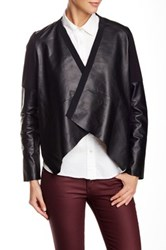 Twelfth St. By Cynthia Vincent Mixed Media Leather Sleeve Jacket Black