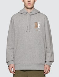 Burberry 1856 Embroidered Logo Hoodie Grey