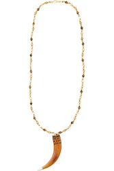 Chan Luu Gold Plated Bone Mother Of Pearl And Jasper Necklace Brown