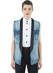 Saint Laurent Shawl Collared Denim Vest Blue