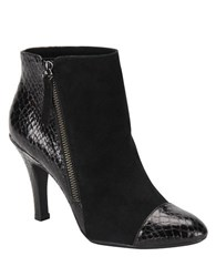 Sofft Makayla Suede And Embossed Patent Leather Booties Black